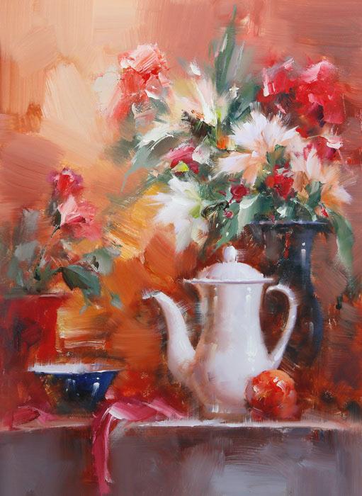Картина Цветочный натюрморт. Холст, масло. 70х50 см живопись на цветном холсте стоянка гондол венеция 40 х 50 см
