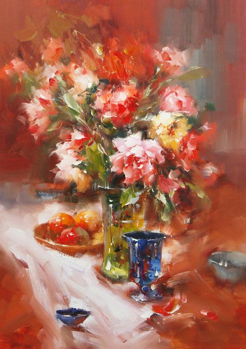 Картина Пионы. Холст, масло. 70х50 см живопись на цветном холсте стоянка гондол венеция 40 х 50 см