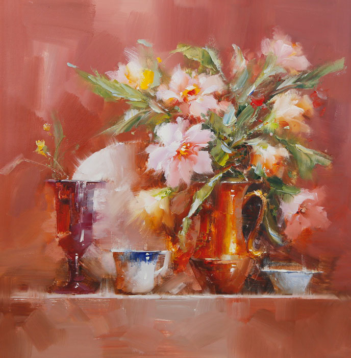 Картина Цветы и кувшин. Холст, масло. 60х60 см василий алферов на исходе лета