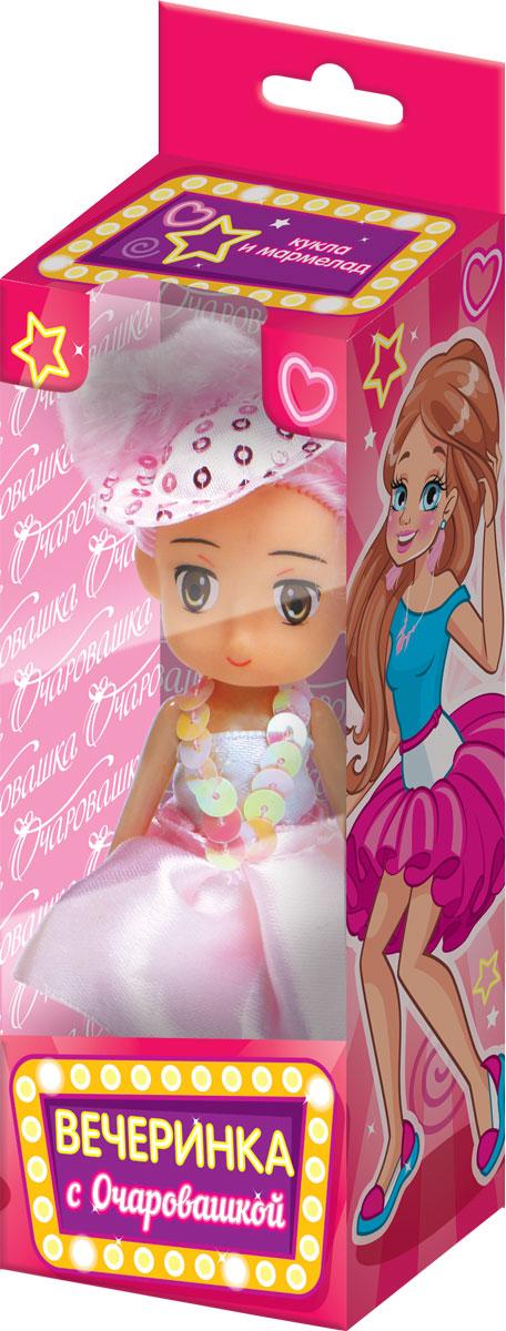 Вечеринка с очаровашкой фруктовый мармелад с игрушкой, 10 гУТ20434Кукла из пластмассы в платье. 3 дизайна платьев для кукол, 3 цвета волос.