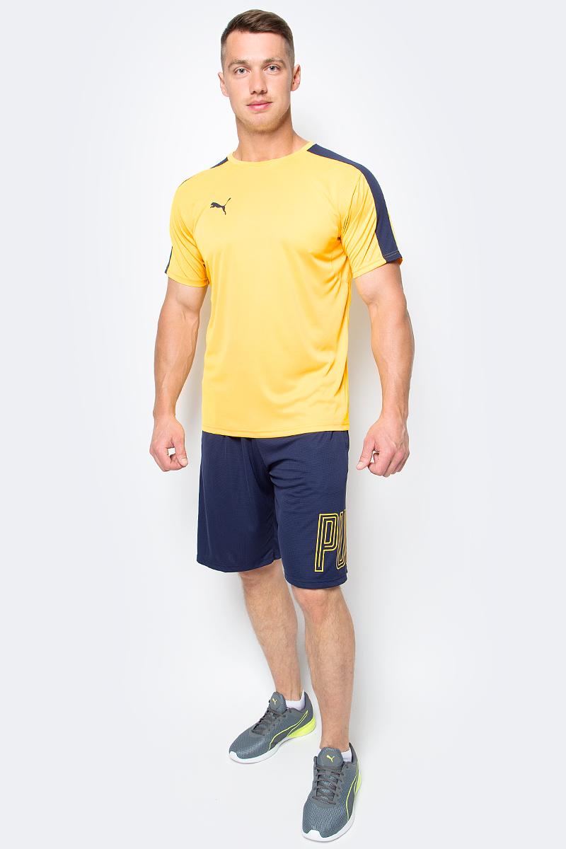 Футболка мужская Puma IT evoTRG Training Tee, цвет: желтый. 65517557. Размер XL (50/52)655175_57Футболка мужская IT evoTRG Training Tee изготовлена из полиэстера с использованием высокофункциональной технологии dryCELL, которая отводит влагу, поддерживает тело сухим и гарантирует комфорт. Футболка декорирована надписью evoTRG сзади и логотипом PUMA, нанесенным методом термопечати на правую сторону груди. На спине имеются сетчатые вставки для хорошей циркуляции воздуха. Рукава фирменного покроя также дополнены сетчатым материалом. Изделие имеет стандартную посадку, круглый вырез горловины и короткие рукава. Это удобная футболка для занятий, которая не стесняет движений и поможет сконцентрироваться на тренировке и не обращать внимания на одежду.