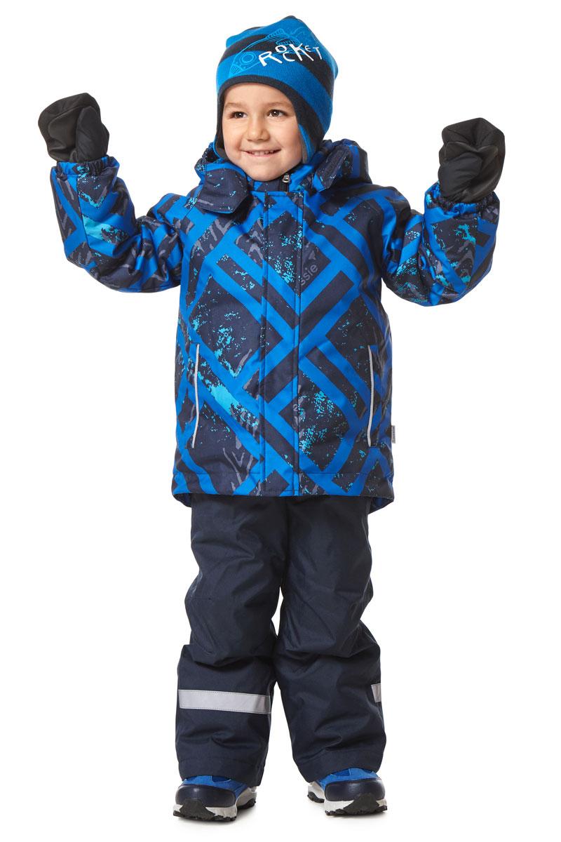 Комплект детский Lassie: куртка, брюки, цвет: темно-синий, голубой. 7237136961. Размер 1167237136961Детский комплект одежды Reima Lassie, состоящий из куртки и брюк, идеально подойдет для активных детей, которые любят играть на улице в любую погоду. Комплект изготовлен из сверхпрочного, ветронепроницаемого и водоотталкивающего материала с покрытием из полиуретана. Подкладка выполнена из полиэстера. В качестве утеплителя используется 100% полиэстер. Куртка со съемным капюшоном и воротником-стойкой застегивается на пластиковую молнию с защитой подбородка. Модель оснащена двумя ветрозащитными планками. Внешняя планка имеет застежки-липучки. Капюшон, присборенный по бокам на резинки, защитит нежные щечки от ветра. Он пристегивается к куртке при помощи кнопок и дополнительно имеет клапан под подбородком с застежкой-липучкой. Для большего комфорта на капюшоне и воротнике используется мягкая и приятная на ощупь подкладка. На рукавах предусмотрены эластичные манжеты. По низу изделия проходит скрытая эластичная резинка со стопперами. Спереди расположены два прорезных кармана на застежках-липучках. Куртка оформлена принтом. Брюки прямого кроя имеют широкий эластичный пояс на кнопке и ширинку на застежке-молнии. Модель дополнена широкими эластичными лямками на липучках, регулируемыми по длине. Снизу брючин предусмотрены муфты с прорезиненными полосками, препятствующие попаданию снега в обувь и не дающие брючинам задираться вверх. Комплект дополнен светоотражающими элементами, которые не оставят вашего ребенка незамеченным в темное время суток. Теплый, удобный и практичный комплект идеально подойдет для прогулок и игр на свежем воздухе!