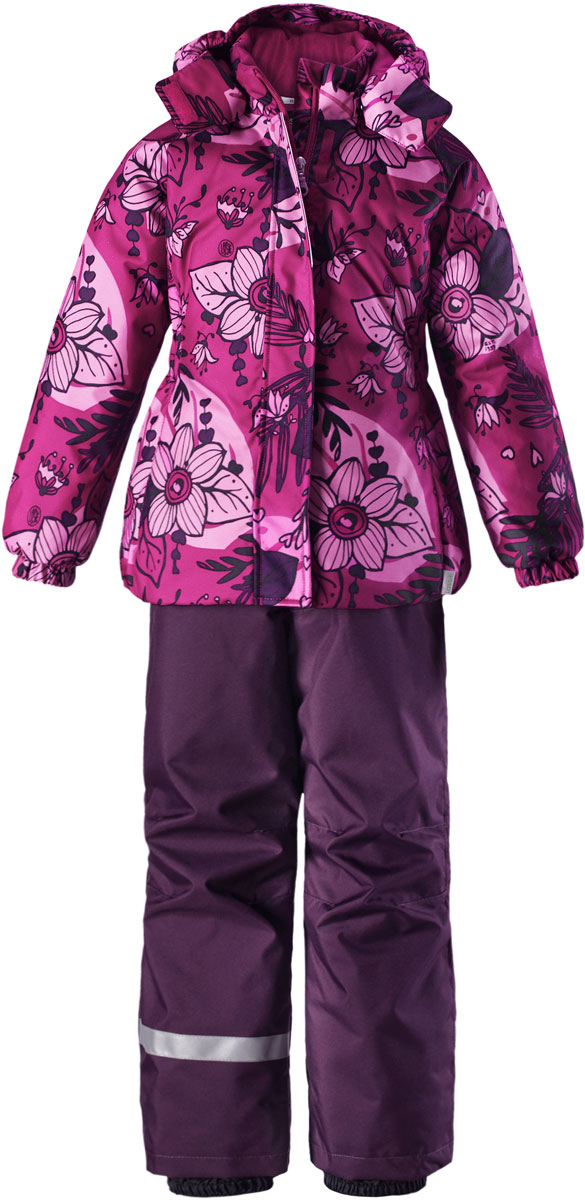 Комплект для девочки Lassie: куртка, брюки, цвет: сиреневый, розовый. 7237144802. Размер 987237144802Комплект одежды для девочки Reima Lassie, состоящий из куртки и брюк, идеально подойдет для активных детей, которые любят играть на улице в любую погоду. Комплект изготовлен из сверхпрочного, ветронепроницаемого и водоотталкивающего материала с покрытием из полиуретана. Подкладка выполнена из полиэстера. В качестве утеплителя используется 100% полиэстер. Куртка со съемным капюшоном и воротником-стойкой застегивается на пластиковую молнию с защитой подбородка. Модель оснащена двумя ветрозащитными планками. Внешняя планка имеет застежки-липучки. Капюшон, присборенный по бокам на резинки, защитит нежные щечки от ветра. Он пристегивается к куртке при помощи кнопок и дополнительно имеет клапан под подбородком с застежкой-липучкой. Для большего комфорта на капюшоне и воротнике используется мягкая и приятная на ощупь подкладка. На рукавах предусмотрены эластичные манжеты. По низу изделия проходит скрытая эластичная резинка со стопперами. Спереди расположены два прорезных кармана на застежках-липучках. Куртка оформлена цветочным принтом. Брюки прямого кроя имеют широкий эластичный пояс на кнопке и ширинку на застежке-молнии. Модель дополнена широкими эластичными лямками на липучках, регулируемыми по длине. Снизу брючин предусмотрены муфты с прорезиненными полосками, препятствующие попаданию снега в обувь и не дающие брючинам задираться вверх. Комплект дополнен светоотражающими элементами, которые не оставят вашего ребенка незамеченным в темное время суток. Теплый, удобный и практичный комплект идеально подойдет для прогулок и игр на свежем воздухе!
