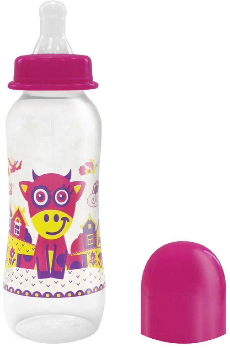 Lubby Бутылочка с силиконовой соской Русские мотивы от 0 месяцев цвет малиновый 240 мл