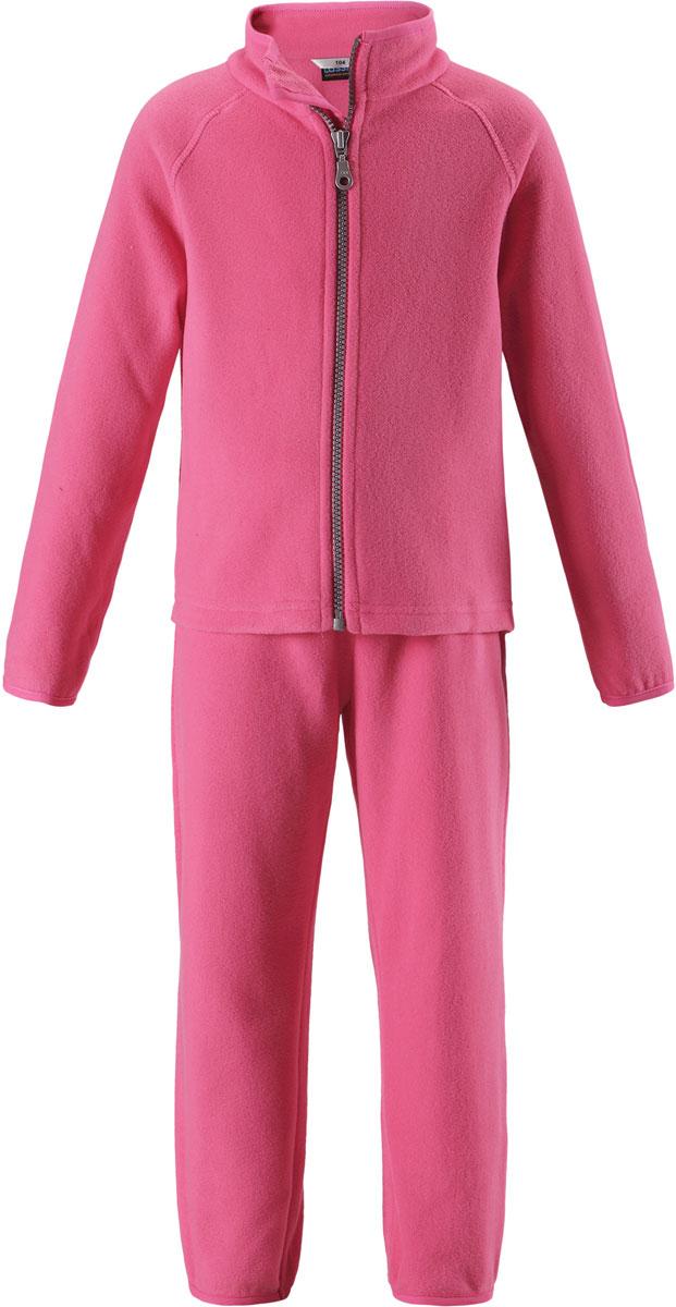 Комплект флисовый для девочки Lassie: толстовка, брюки, цвет: розовый. 7267003320. Размер 98