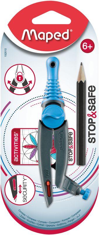 Maped Циркуль Stop&Safe цвет голубой192610Циркуль Maped Stop&Safe с запатентованной системой фиксации штанг. Оснащен безопасной иглой, пластиковыми штангами и держателем для карандаша.В комплекте с циркулем поставляется чернографитный карандаш.