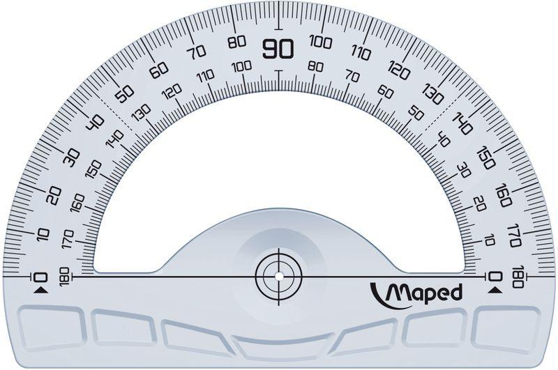 Maped Транспортир 12 см242180Транспортир Maped на 180°, основание 12 см, выполнен из пластика. На поверхность нанесена высококачественная градуировка - УФ чернила, не пачкающиеся края.