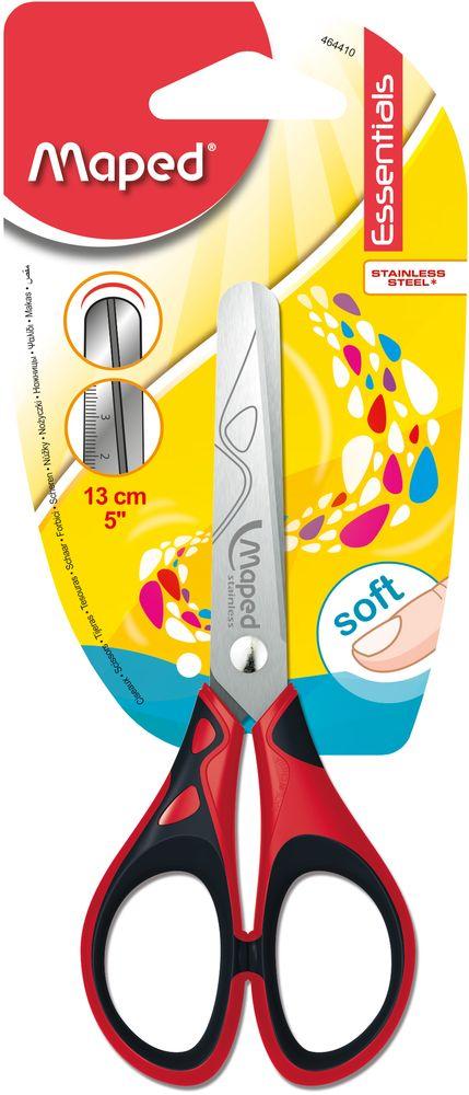 Maped Ножницы Essentials Soft цвет красный черный 13 см464410Симметричные ножницы Maped Essentials Soft с прорезиненными ручками станут прекрасным помощником для ваших детей! Изделие выполнено в ярком цвете - ваш затейник будет очень доволен! Область применения таких ножниц достаточно широка: их можно использовать дома и в школе для разрезания любых видов бумаги и картона.