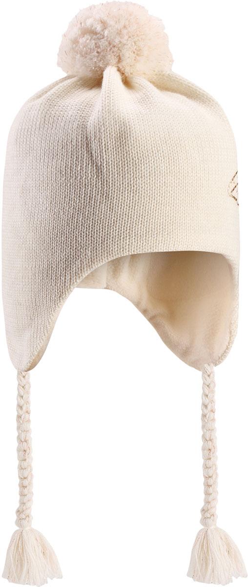 Шапка детская Lassie, цвет: белый. 7287160160. Размер 48/507287160160Очаровательная шапка Lassie, изготовленная из нежной полушерстяной пряжи, незаменима в холодные зимние дни! Красивая и гладкая флисовая подкладка очень приятна на ощупь и обеспечивает дополнительное утепление. Ветронепроницаемые вставки защищают ушки от холодного ветра, а спереди на шапке размещена светоотражающая эмблема Lassie. Симпатичный помпон и украшение в виде цветка дополняют образ! Уважаемые клиенты!Размер, доступный для заказа, является обхватом головы.