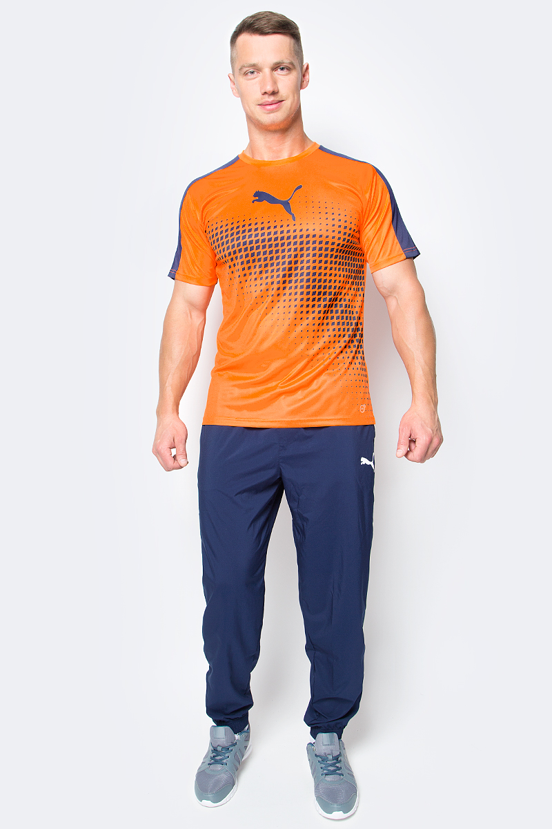 Футболка мужская Puma IT evoTRG Graphic Tee, цвет: оранжевый. 65517459. Размер S (44/46) slimming face massager stick 24k gold vibration facial beauty roller lift tightening wrinkle stick bar face skin care with box