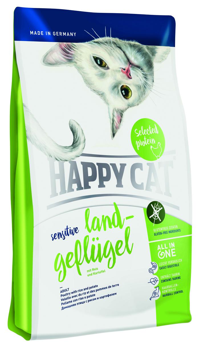 Корм сухой Happy Cat Sensitive для кошек, с домашней птицей, 1,4 кг70252Корм сухой Happy Cat Sensitive для кошек, содержит животный белок из лучших выращенных птиц. Перевариваемый рис, картофель и здоровые яблоки, без глютена. Новая питательная формула для кошек, характеризуется следующими признаками: контроль комков шерсти, таурина и большим количеством животного белка, рН для мочевыводящих путей, ухода за зубами, омега-3 и 6 жирных кислот для здоровой кожи и шерстью. Состав: птица (23%), рисовая мука (22%), рисовый протеин (19,5%), птичий жир, картофельные хлопья (5%), гидролизат печени, клетчатка, масло из семян подсолнечника, свекольная пульпа, хлорид натрия, яблочная пульпа (0,5%), дрожжи, рапсовое масло, хлорид калия, морские водоросли (0,2%), семя льна (0,2%), Юкка Шидигера (0,04%), корень цикория (0,04%), дрожжи(экстрагированные), расторопша, артишок, одуванчик, имбирь, березовый лист, крапива, ромашка, кориандр, розмарин, шалфей, корень солодки, тимьян (общий объем сухих трав: 0,18%) из контролируемого экологического хозяйства, в сушеном виде. Минеральные вещества: железо 120 мг (сульфат железа (II)), медь 12 мг (сульфат меди (II)), цинк 150 мг (оксид цинка), марганец 30 мг ( оксид марганца (II)), йод 2, 5 мг (йодат кальция 3b202), селен 0, 2 мг (селенит натрия).Товар сертифицирован.