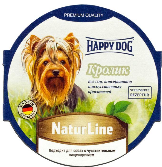 Консервы Happy Dog Natur Line для собак, паштет с кроликом, 85 г71499Сбалансированный консервы Happy Dog Natur Line изготовлен по оригинальной технологии Interquell GmbH (Германия) из натурального мяса и мясопродуктов. Не содержит сои, искусственных красителей, консервантов и генетически модифицированных организмов. Состав: мясо и мясопродукты (5,0% кролика), минеральные вещества, инулин (0,1%). Пищевые добавки на 1 кг продукта: витамин D3 250 М.Е, витамин Е 15 мг, цинк 15 мг, медь 1 мг, марганец 1 мг.Аналитический состав: протеины 11,5%, жиры 9%, сыра зола 3%, клетчатка 2%, влажность 89,5%. Товар сертифицирован.Расстройства пищеварения у собак: кто виноват и что делать. Статья OZON Гид