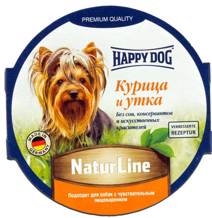 Консервы Happy Dog Natur Line для собак, паштет с курицей и уткой, 85 г71500Сбалансированный консервы Happy Dog Natur Line изготовлен по оригинальной технологии Interquell GmbH (Германия) из натурального мяса и мясопродуктов. Не содержит сои, искусственных красителей, консервантов и генетически модифицированных организмов. Состав: мясо и мясопродукты (5,0% утки, 5,0% курицы), минеральные вещества, инулин (0,1%). Пищевые добавки на 1 кг продукта: витамин D3 250 М.Е, витамин Е 15 мг, цинк 15 мг, медь 1 мг, марганец 1 мг.Аналитический состав: протеины 11,5%, жиры 9%, сыра зола 3%, клетчатка 2%, влажность 89,5%. Товар сертифицирован.