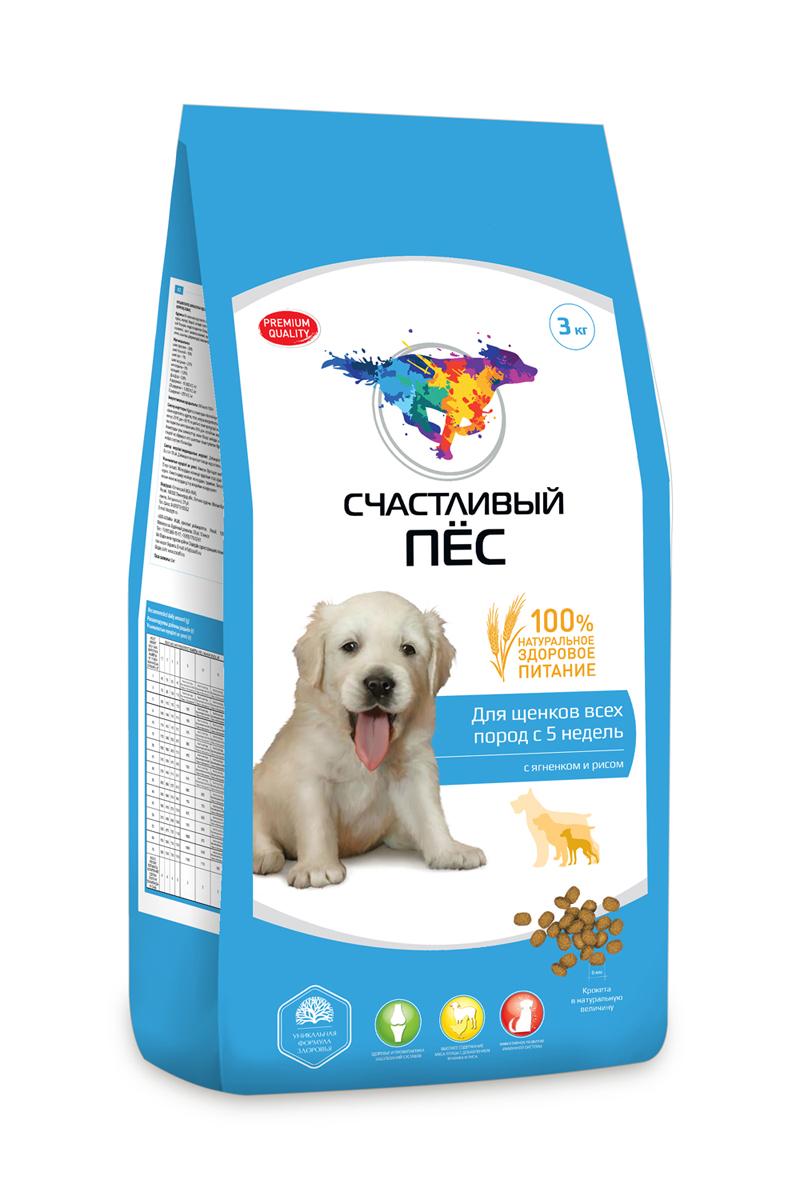 Корм сухой Счастливый пес для щенков всех пород с 5 недель, с ягненком и рисом, 3 кг86739Состав: Мясо и продукты животного происхождения (курица не менее 21%), рис, кукуруза, пшеница, экстракт белка растительного происхождения, подсолнечное масло, баранья печень, гидролизированная печень, минеральные добавки (в т. ч. глюкозамин), пульпа сахарной свёклы (жом), яблоко дроблёное, дрожжи, витамины, антиоксидант. Минеральные вещества: ;Кальций– 1,35%, Фосфор - 0,8%.
