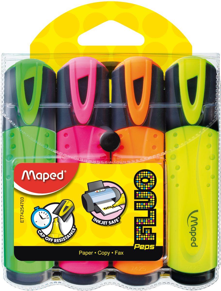 Maped Набор маркеров Fluo PepS 4 цвета742547Маркеры Maped Fluo PepS - классические текстовыделители с пишущим узлом 1-5 мм, с устойчивыми к солнечному свету чернилами
