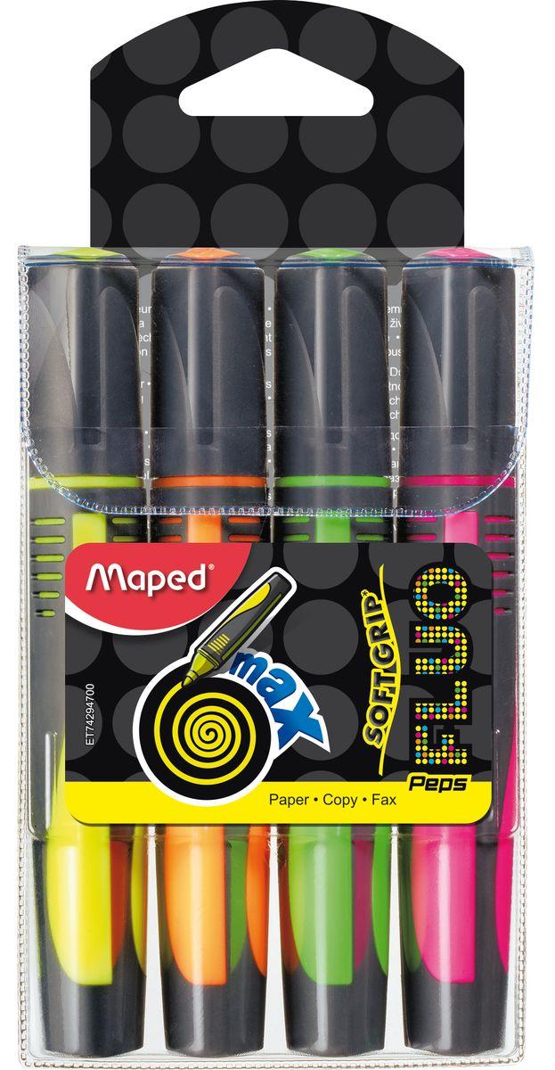 Maped Набор маркеров Fluo PepS Max 4 цвета742947Маркеры Maped Fluo PepS Max - треугольные текстовыделители с мягким корпусом, пишущим узлом 1-5 мм, с устойчивыми к солнечному свету чернилами и увеличенной длинной письма.
