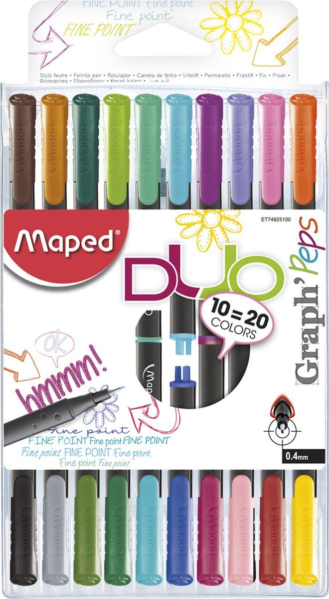 Maped Набор ручек капиллярных Graph Peps Duo двусторонние 20 цветов 10 шт карандаши набор 18цв аквар maped color peps aqua кисть
