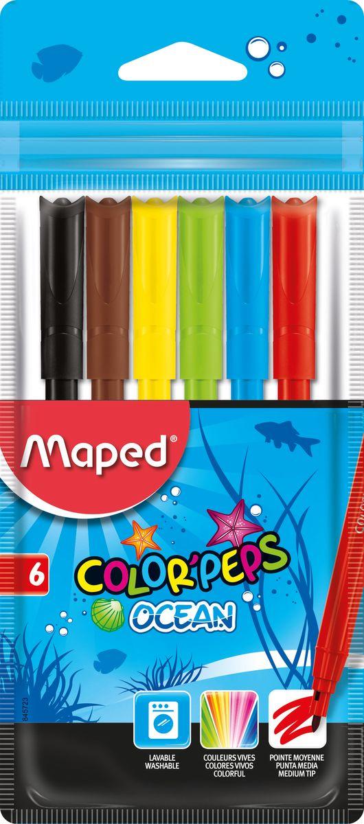 Maped Набор фломастеров Colorpeps Ocean 6 цветов845723Фломастеры Maped Colorpeps Ocean с заблокированным пишущим узлом, непременно понравится вашему юному художнику. Фломастеры легко смываются с рук и отстирываются. Пластиковый корпус и вентилируемый колпачок предохраняют чернила от преждевременного высыхания, что гарантирует длительный срок службы. Фломастеры подходят как для рисования, так и для письма.