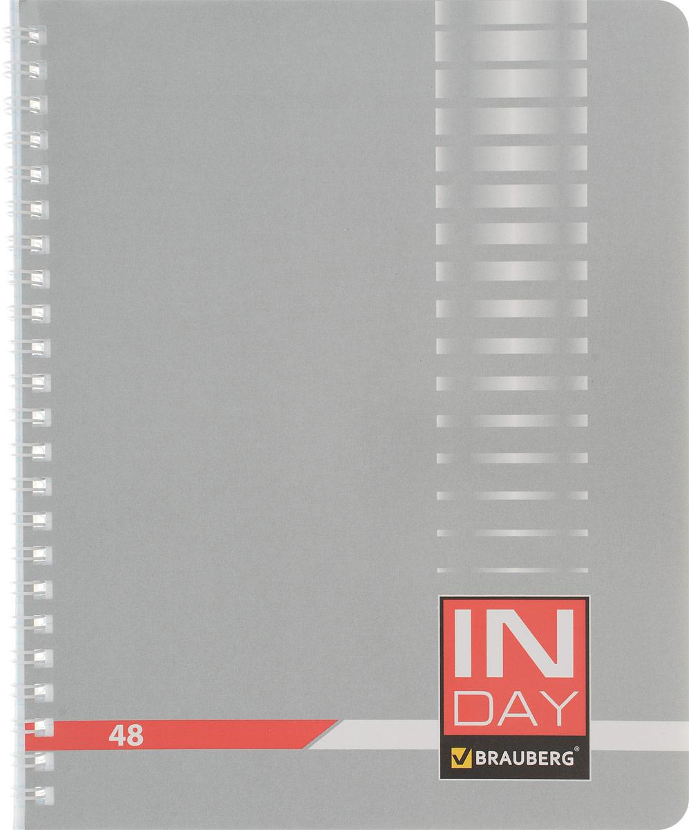 Brauberg Тетрадь In Day 48 листов в клетку цвет серый400524_серыйОбложка тетради Brauberg In Day с закругленными углами выполнена из плотного картона, что позволит сохранить ее в аккуратном состоянии на протяжении всего времени использования.Внутренний блок тетради, соединенный металлическим гребнем, состоит из 48 листов белой бумаги. Стандартная линовка в клетку голубого цвета без полей. Страницы тетради дополнены микроперфорацией для удобного отрыва листов.