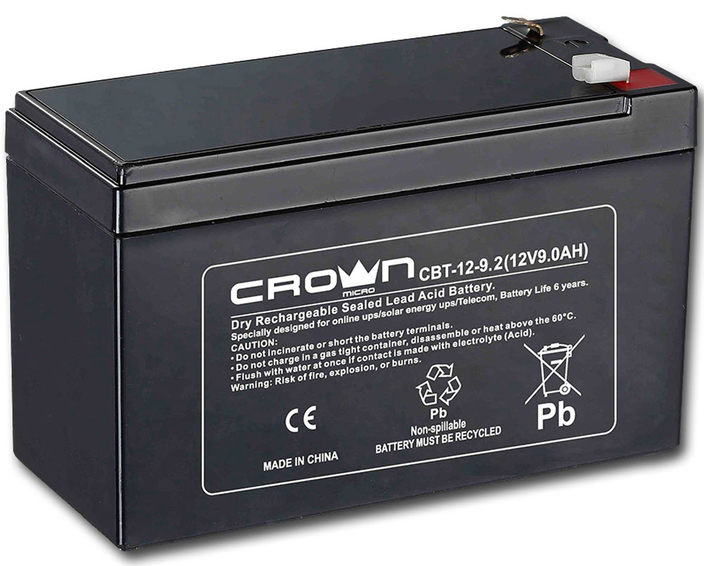 Crown CBT-12-9.2 аккумулятор для ИБПCM000001678Crown CBT-12-9.2 - надежный аккумулятор для ИБП (источники бесперебойного питания), а также других устройств, где необходим источник тока.Свинцово-кислотные аккумуляторы разработаны и оптимизированы для источников и систем бесперебойного питания, и для работы в буферном режиме. Предусмотрена полностью герметичная конструкция, и клапан внутренней рекомбинации газов, что делает аккумуляторы нетоксичными, и безопасными для работы в офисе идома.Высокотехнологичный дизайн свинцово-оловянной сетки ячеек для увеличения ёмкостиДлительный срок службы при постоянном разряде-заряде или храненииНизкий саморазрядТип клемм: F2Максимальный ток разряда: 105А (5с)Ток заряда: не более 2.1АНапряжение: 14.4 В - 15.0 В при температуре 25°C