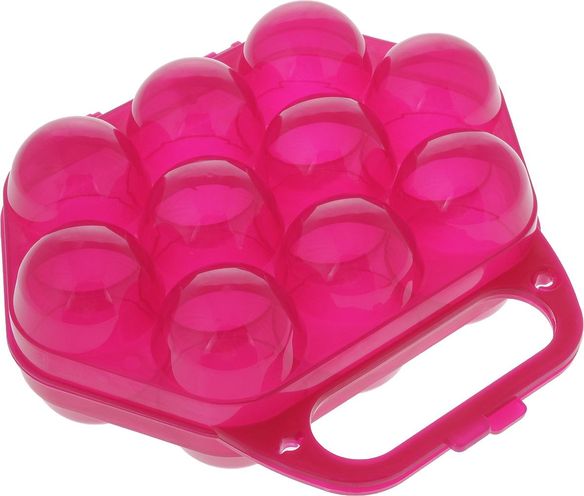 Контейнер для яиц Idea, на 10 шт, 20 х 19 х 7,5 смМ 1210_фуксияКонтейнер для яиц Idea изготовленный из пищевого пластика, выполнен в виде чемоданчика и снабжен специальными ячейками для 10 яиц. Надежный защелкивающийся замок предотвратит случайное раскрытие контейнера. Изделие не занимает много места, что очень удобно при транспортировке и хранении.