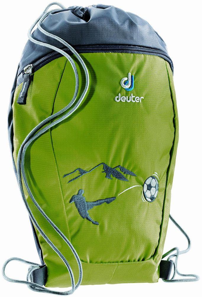 Deuter Сумка для сменной обуви One Two Футбол3890115-2015Сумка-мешок Deuter One Two Футбол - это простой и практичный мешок для спортивной или сменной обуви. Мешок выполнен из прочного материала и дополнен внешним карманом на молнии. Сумка содержит одно вместительное отделение, затягивающееся с помощью текстильных шнурков. Шнурки фиксируются в нижней части изделия, благодаря чему ее можно носить за спиной как рюкзак.