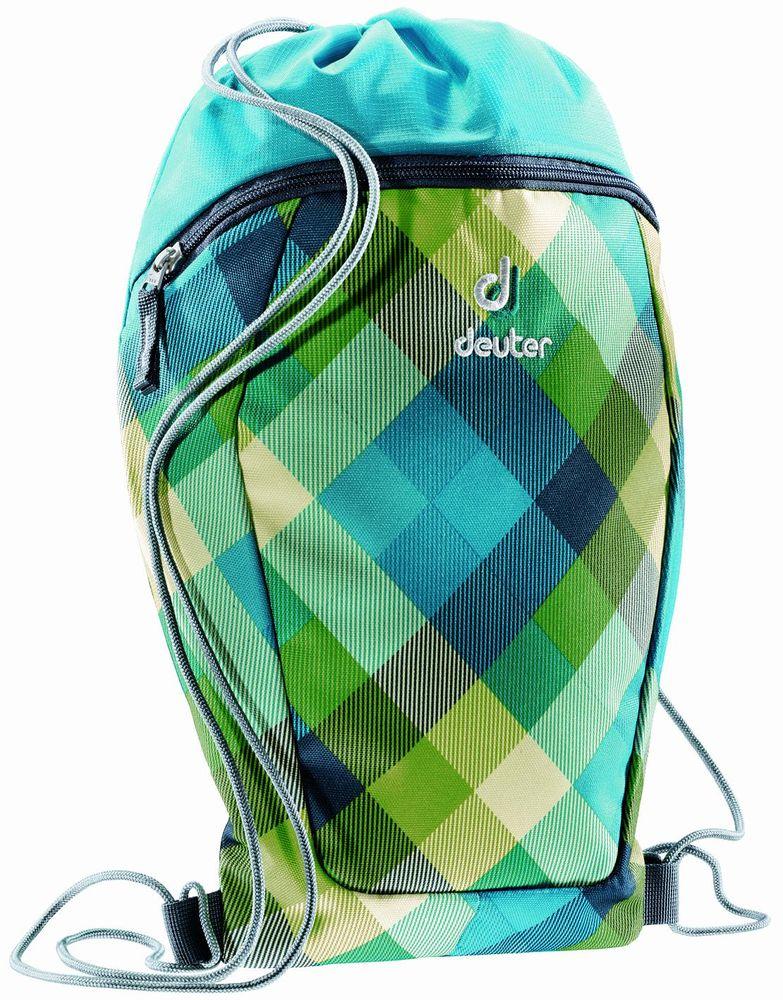 Deuter Сумка для сменной обуви One Two Зеленая клетка3890115-3216Сумка-мешок Deuter One Two Зеленая клетка - это простой и практичный мешок для спортивной или сменной обуви. Мешок выполнен из прочного материала и дополнен внешним карманом на молнии. Сумка содержит одно вместительное отделение, затягивающееся с помощью текстильных шнурков. Шнурки фиксируются в нижней части изделия, благодаря чему ее можно носить за спиной как рюкзак.