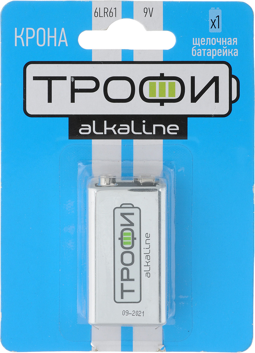 Батарейка алкалиновая Трофи, тип крона 6LR61 (1BL), 9В5060138472181Щелочные (алкалиновые) батарейки Трофи оптимально подходят для повседневного питания множества современных бытовых приборов: электронных игрушек, фонарей, беспроводной компьютерной периферии и многого другого. Не содержат кадмия и ртути. Батарейки созданы для устройств со средним и высоким потреблением энергии. Работают в 10 раз дольше, чем обычные солевые элементы питания. Размер батарейки: 2,7 см х 1,3 см х 4,7 см.