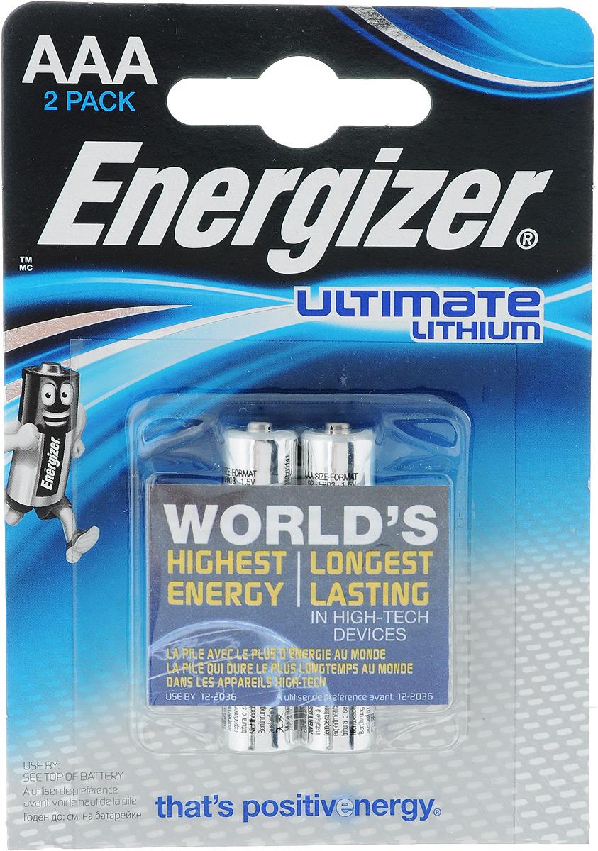 Батарейка литиевая ENERGIZER Ultim Lithium, тип ААА, 2 шт батарейка energizer miniatures lithium cr2032 2 шт