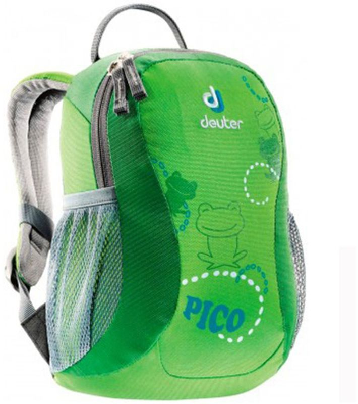 Deuter Рюкзак дошкольный Pico цвет зеленый36043-2004Дошкольный рюкзак Deuter Pico - это самый компактный детский рюкзак.Рюкзак имеет одно основное отделение, внутри которого находится именная бирка. У изделия легкая в обращении полукруглая молния. Рюкзак имеет S-образные плечевые лямки с мягкими краями, мягкие и комфортные подушки спинки, нагрудный ремешок, два сетчатых боковых кармана. Замки и пряжки выполнены специально под детские ручки.