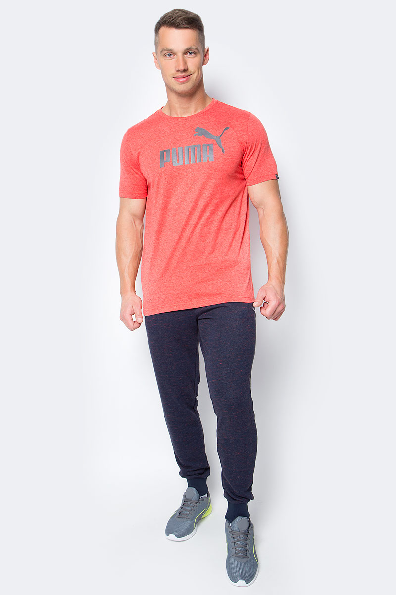 Футболка мужская Puma ESS No.1 Heather Tee, цвет: красный. 83824305. Размер XXL (52/54) толстовка мужская puma ess sweat jacket tr цвет серый 838254 03 размер xxl 52 54