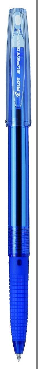 Pilot Ручка шариковая Super Grip G цвет синийBPS-GG-M-LРучка шариковая Pilot Super Grip G- новая неавтоматическая многоразовая шариковая ручка с новыми ультрамягкими чернилами. Цвет тонировки корпуса соответствует цвету чернил. Вентилируемый колпачок. Новая форма резинового упора для пальцев предотвращает усталость и скольжение пальцев при письме. Упор для пальцев более длинный, чем у большинства ручек для того, чтобы каждый потребитель смог найти для себя удобное положение пальцев. Ручка подходит для нанесения логотипов.Диаметр шарика F (fine) – 1,0 мм.Толщина линии письма 0,27 мм.Сменный стержень RFJ-GP-M.