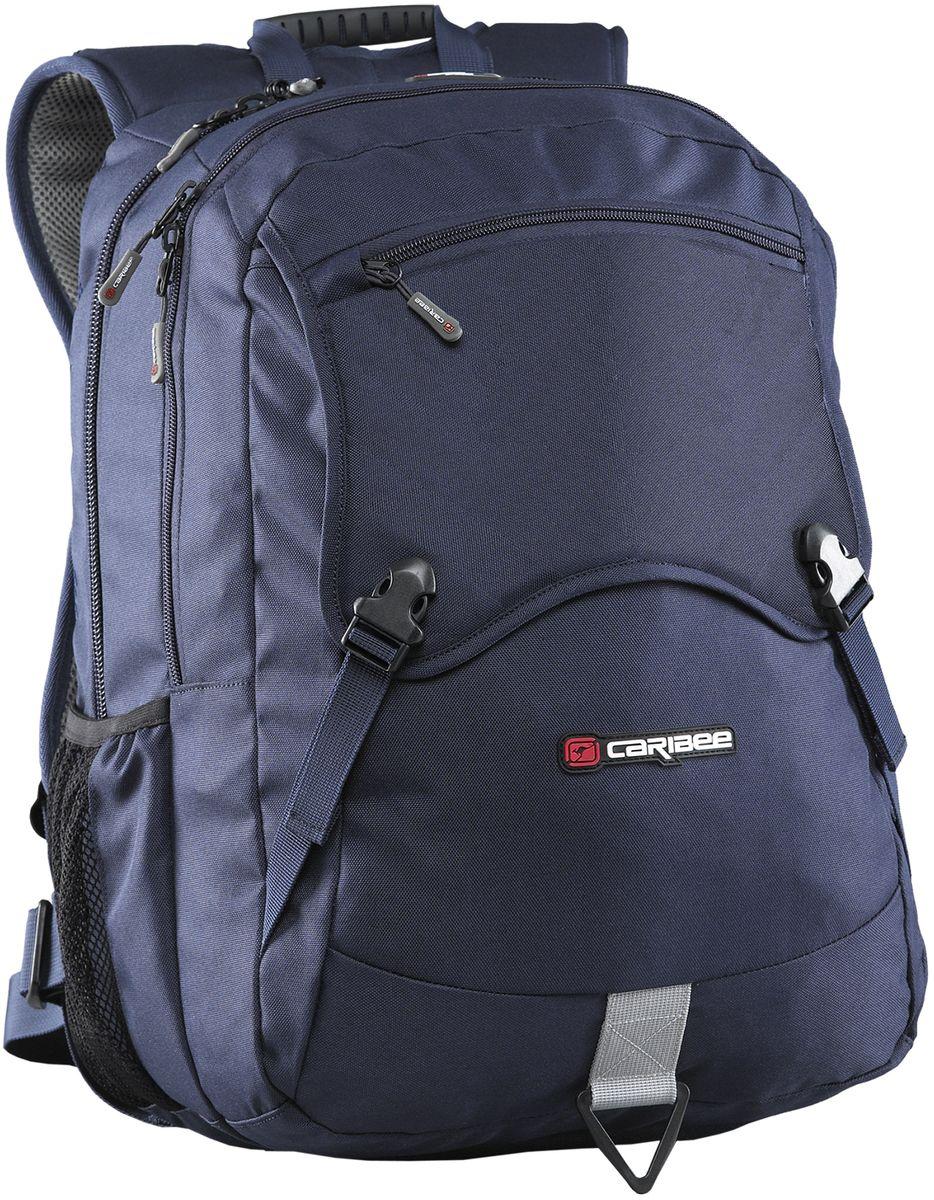 Caribee Рюкзак Yukon цвет синий63731Рюкзак Caribee Yukon - легкий рюкзак из прочного полиэстера.Рюкзак правильно сидит на спине, а жесткая спинка из вентилируемого материала и мягкие лямки обеспечивают удобство переноски. Регулируемый нагрудный ремень с эластичной вставкой и поясной ремень улучшают посадку рюкзака и разгружают спину. Рюкзак включает в себя отделение для ноутбука с диагональю 15,4 с эластичными стенками, органайзер, большое отделение для документов А4 и личных вещей, а также карман для плеера с выходом для наушников. Дополнительно рюкзак оснащен двумя боковыми сетчатыми карманами. Рюкзак снабжен водонепроницаемым чехлом для защиты вещей от осадков.
