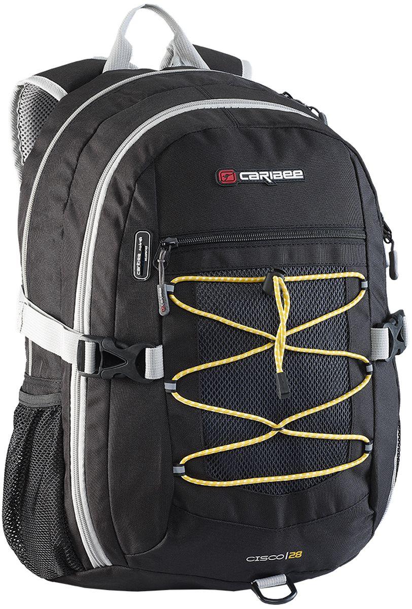 Caribee Рюкзак Cisco цвет черный64261Универсальный рюкзак, сочетающий качество и доступность. Отличается комфортом при носке и большим внутренним объемом.Рюкзак имеет продуманную спинку с правильно расположенным центром тяжести и удобные лямки, позволяя в несколько раз снизить нагрузку на плечи. Для правильного распределения веса в рюкзаке используются инновационные ремни с компрессионным эффектом по бокам, при помощи которых рюкзак максимально прижат к спине, что уменьшает эффект рычага и его переноска становится более легкой и удобной.Внутри рюкзака находятся два больших отделения на молниях, встроенный органайзер, отделение для плеера, боковые карманы для бутылок с водой, ручка для переноски. Материал рюкзака устойчив к разрывам, истиранию, попаданию влаги, хорошо чистится.