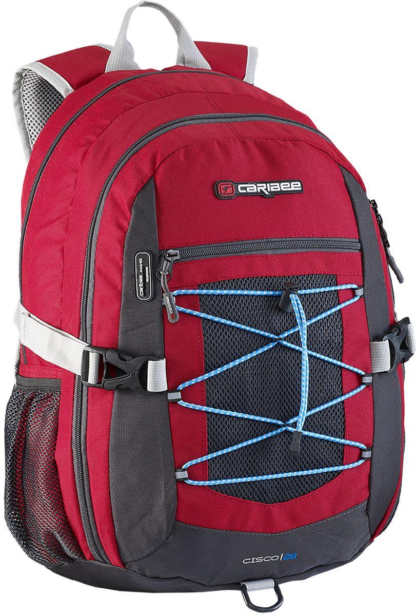 Caribee Рюкзак Cisco цвет красный64263Универсальный рюкзак, сочетающий качество и доступность. Отличается комфортом при носке и большим внутренним объемом.Рюкзак имеет продуманную спинку с правильно расположенным центром тяжести и удобные лямки, позволяя в несколько раз снизить нагрузку на плечи. Для правильного распределения веса в рюкзаке используются инновационные ремни с компрессионным эффектом по бокам, при помощи которых рюкзак максимально прижат к спине, что уменьшает эффект рычага и его переноска становится более легкой и удобной.Внутри рюкзака находятся два больших отделения на молниях, встроенный органайзер, отделение для плеера, боковые карманы для бутылок с водой, ручка для переноски. Материал рюкзака устойчив к разрывам, истиранию, попаданию влаги, хорошо чистится.