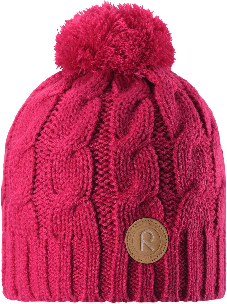 Шапка-бини для девочки Reima Laavu, цвет: розовый. 5380253560. Размер 545380253560Детская шапка Reima связана из теплой, плотной, высококачественной пряжи. Шапка снабжена подкладкой из мягкого дышащего флиса, ветронепроницаемые вставки защищают ушки в ветреную погоду. Оригинальный структурный узор и большой помпон на макушке дополняют образ.