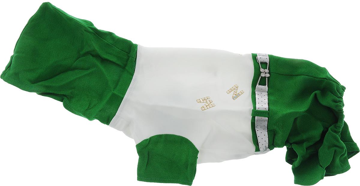Комбинезон для собак Pret-a-Pet, цвет: зеленый, белый. Размер MMOS-019-MКомбинезон с капюшоном для собак Pret-a-Pet выполнен из высококачественного текстиля. Короткие рукава не ограничивают свободу движений, и собачка будет чувствовать себя в нем комфортно. Комбинезон застегивается с помощью кнопок. Изделие оформлено стразами и декоративным ремешком. Края комбинезона около задних лап дополнены вшитыми резинками. Длина спины: 27-29 см, объем груди: 37-39 см.Одежда для собак: нужна ли она и как её выбрать. Статья OZON Гид
