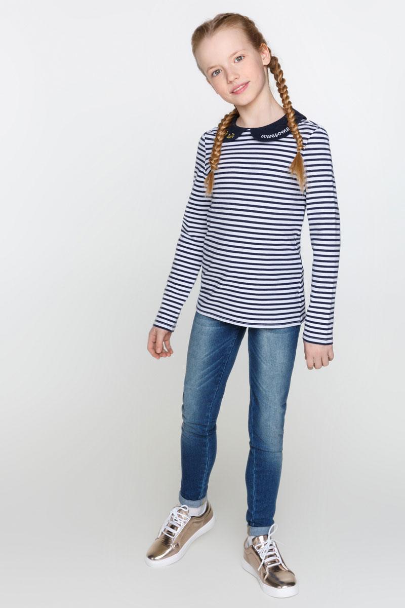 Футболка с длинным рукавом для девочки Acoola Stefani, цвет: темно-синий, белый. 20210100111_4400. Размер 164 футболка с длинным рукавом для девочки acoola avon цвет светло розовый 20210100132 размер 164