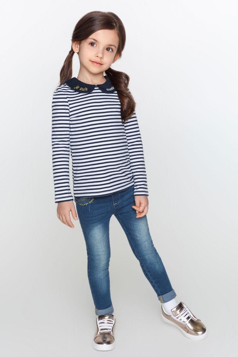 Футболка с длинным рукавом для девочки Acoola Stefani, цвет: темно-синий, белый. 20220100103_4400. Размер 92 футболка с длинным рукавом для девочки acoola avon цвет светло розовый 20210100132 размер 164
