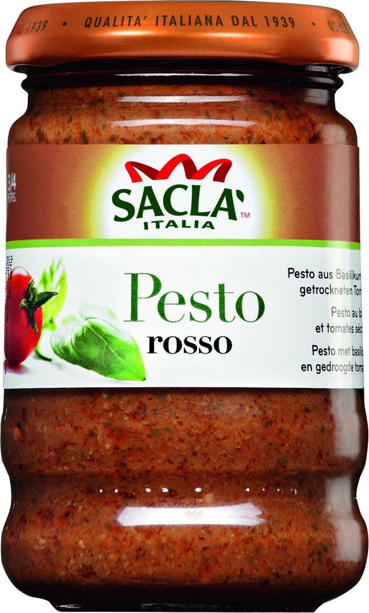 Sacla Pesto Rosso с базиликом и томатами для макарон, 190 г215200Соус классический песто для макарон с базиликом. Соус на основе растительного масла.