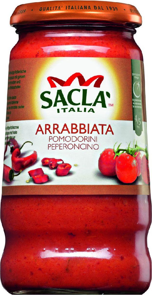 Sacla Arrabbiata Pomodorini Peperoncino с цельными томатами Черри и перцем Чили соус Арраббиата, 420 г215213Соус с цельными томатами черри и перцем чили.