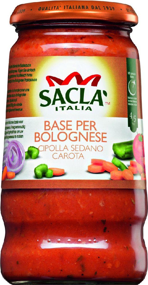 Sacla Base Per Bolognese Cipolla Sedano Carota соус-основа для Болоньезе, 420 г215214Соус-основа SACLA для болоньезе благодаря входящим в состав натуральным томатам и красному вину Барбера обладает неповторимым теплым вкусом, способным разнообразить любое блюдо. Особенно гармонично сочетается с блюдами средиземноморской и итальянской кухни. Подходит для добавления в лазанью, макаронную пасту пиццу. Соус можно взять на пикник для шашлыка или овощей, приготовленных на гриле. Изысканный соус SACLA обладает однородной густой консистенцией насыщенного красного цвета.