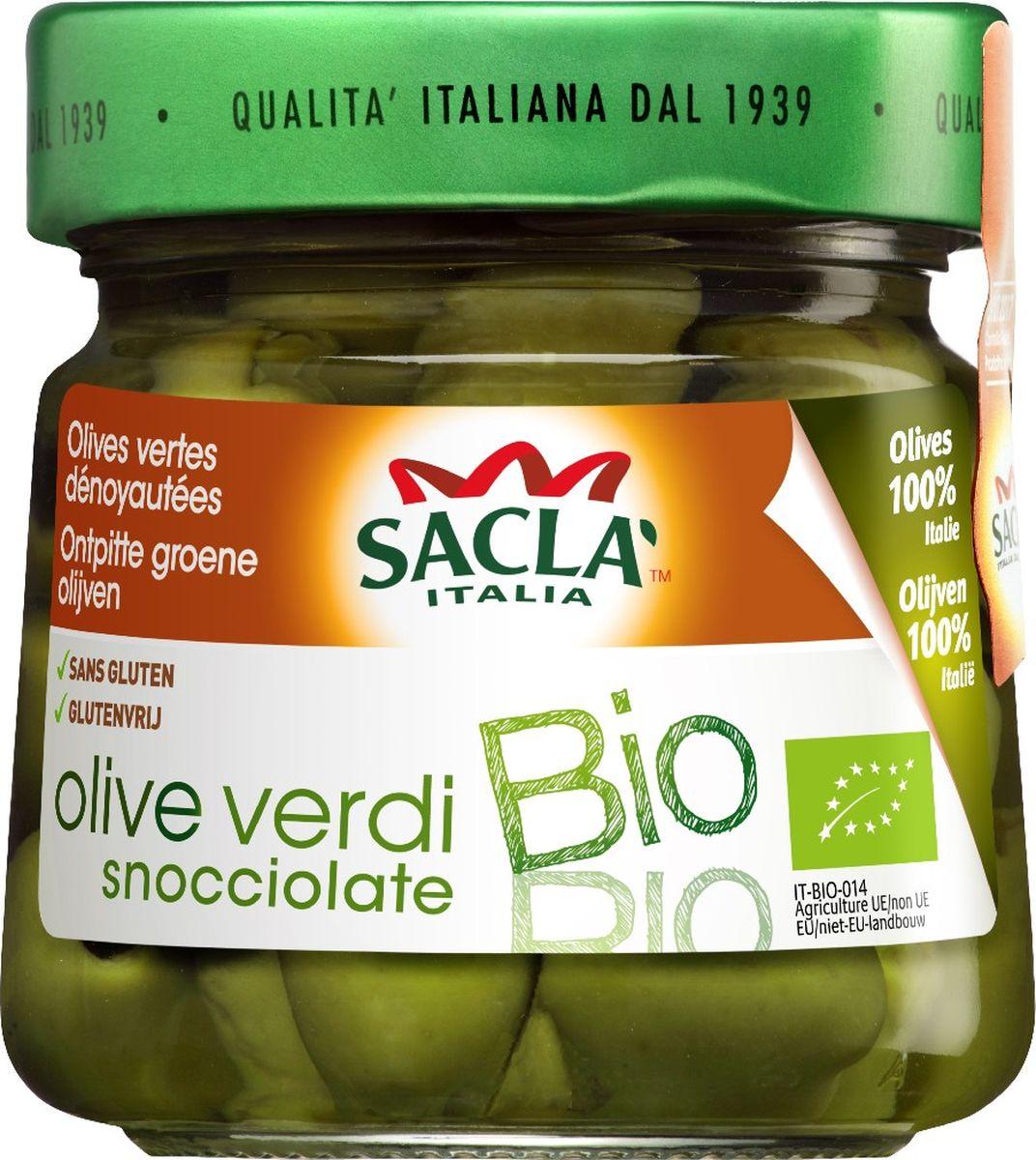 Sacla Био оливки зеленые без косточки, 185 г250254Оливки зеленые биологические без косточек.