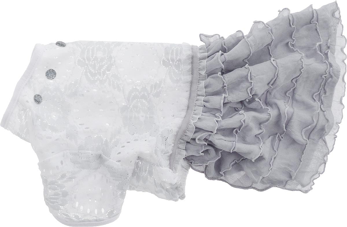 Платье для собак Pret-a-Pet Кружево, цвет: белый, серый. Размер MMOS-007-MПлатье для собак GLG Кружево выполнено из ажурного текстиля с юбочкой с рюшами. Короткие рукава не ограничивают свободу движений, и собачка будет чувствовать себя в ней комфортно. Изделие выполнено без застежек и декорировано стразами. Длина спины: 27-29 см. Объем груди: 37-39 см.