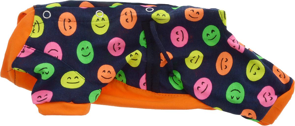 """Комбинезон для собак Yoriki """"Смайлик"""", для девочки, цвет: темно-синий, оранжевый. Размер S. 468-21"""