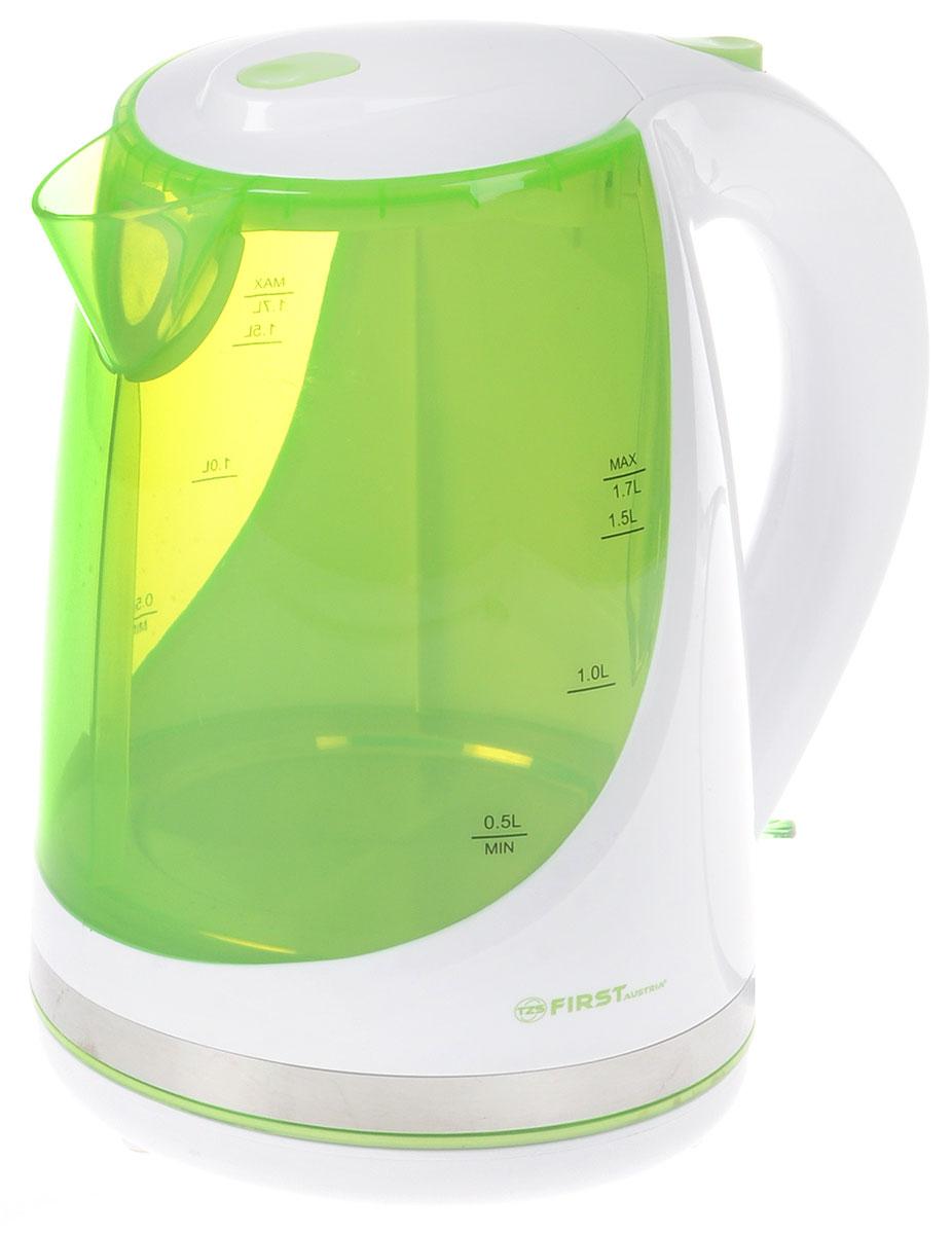 First FA-5427-8, White Green чайник электрическийFA-5427-8-GNFirst FA-5427-8 - надежный и недорогой электрочайник в корпусе из качественного пластика. Прибор оснащенскрытым нагревательным элементом и позволяет вскипятить до 1,7 литра воды. Данная модель оснащенасветоиндикатором работы, поворотной поверхностью 360° и фильтром для воды. Для обеспечения безопасностипри повседневном использовании предусмотрены функция автовыключения, отключение при отсутствии воды, а такжекнопка мягкого открытия крышки.