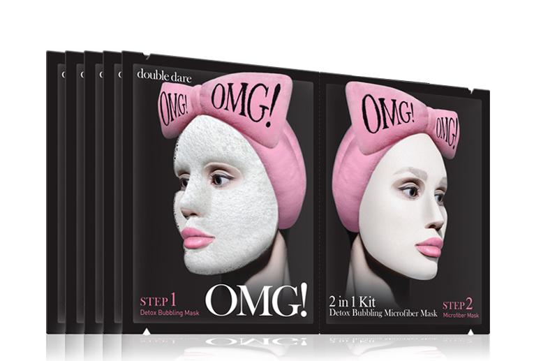 Double Dare OMG! Маска двухкомпонентная для глубокого очищения и питания кожи лица 2IN1 KIT Detox Bubbling Microfiber Mask double dare omg маска трехкомпонентная для восстановления волос 3in1 kit hair repair system