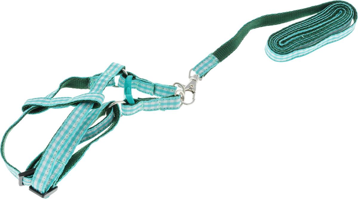 Комплект для собак GLG Клетка: шлейка, поводок, цвет: зеленый, 2 предметаOH06Комплект для собак GLG Клетка изготовлена из высококачественного нейлона, подходит для собак малых и средних размеров. В комплект входит шлейка и поводок. Крепкие металлические и пластиковые элементы делают ее надежной и долговечной. Изделие оснащено светоотражающими полосами.Шлейка - это альтернатива ошейнику. Правильно подобранная шлейка не стесняет движения питомца, не натирает кожу, поэтому животное чувствует себя в ней уверенно и комфортно. Поводок - необходимый аксессуар для собаки. Ведь в опасных ситуациях именно он способен спасти жизнь вашему любимому питомцу. Изделия отличаются высоким качеством, удобством и универсальностью.Размер регулируется при помощи пряжки. ширина: 1смДлина поводка: 120 см