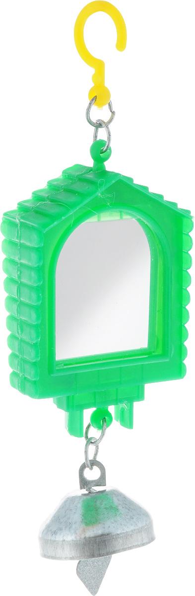 Зеркало для птиц Каскад, двойное, цвет: зеленый33300524_зеленыйОригинальное зеркало для птиц Каскад изготовлено из качественного пластика. Зеркало выполнено с двух сторон и крепится оно на крючок в любое удобное место. Низ модели дополнен небольшим звонким колокольчиком.Такая игрушка порадует как самих животных, так и их хозяев. Размеры игрушки: 13,5 x 4,5 x 2 см.