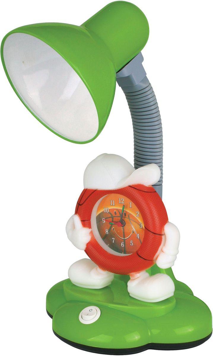 Светильник настольный детский Camelion, с часами, цвет зеленый, оранжевый,230В, 40Вт, E27. KD-388 C0512620Настольный детский светильник Camelion - яркое решение для местного освещения в детской комнате, на письменном столе школьника. В светильниках используются безопасные и качественные материалы, возможность использования в качестве источника света любую лампу мощностью до 40 Вт (Е27). В светильнике также имеются часы.